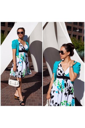 aquamarine cropped unknown cardigan - white floral print speechless dress