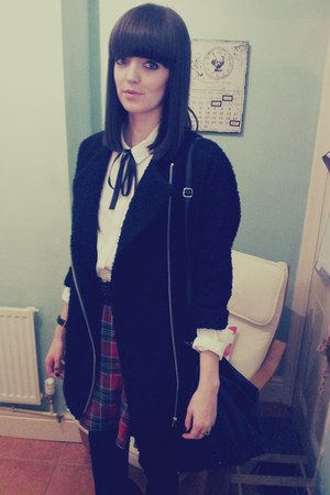 black Topshop coat - white Topshop shirt - black Urban Outfitters bag