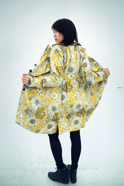 yellow Liberty of London for Target coat - black vintage boots