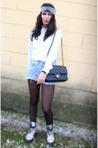 black bag - light purple Dr Martens boots - white Bershka shirt