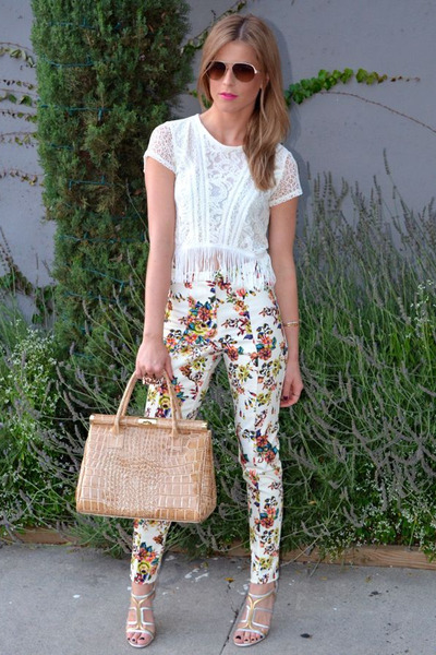 lace fringe Topshop top - gold Jason Wu sunglasses - silver and gold Prada heels