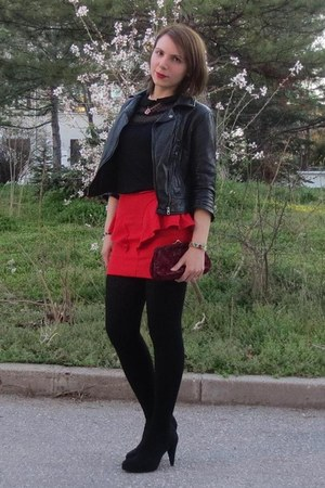 red Zara skirt - black Zara shoes - black Bershka jacket - crimson Mango bag