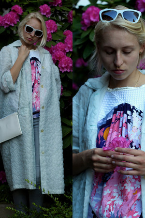 pink handmade shirt - aquamarine vintage coat - white Monki bag