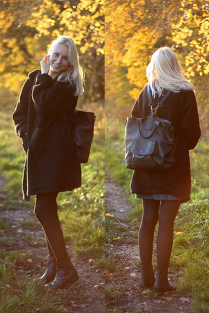 black asos boots - black handmade coat - black The White Pepper bag