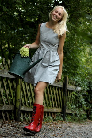 heather gray handmade dress - ruby red Gumboots boots