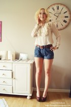blouse - shorts - wedges