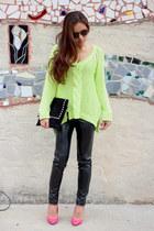 neon orange Zara pumps - neon green Zara sweater - J Brand leggings