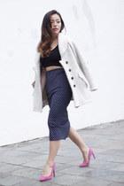 blue polka dot Zara skirt - eggshell oversized Teija Eilola coat