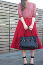 Red-plaid-zara-sweater-black-black-tote-prada-bag-red-midi-asos-skirt