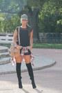 Bershka-boots-h-m-hat-zara-shirt-suiteblanco-bag-zara-shorts