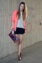 coral H&M blazer - silver H&M shirt - magenta Primark bag - black H&M shorts
