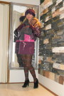 Black-zara-boots-magenta-hat-magenta-sm-accessories-tights