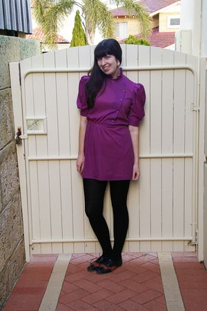 purple vintage dress - black ollie ollie shoes