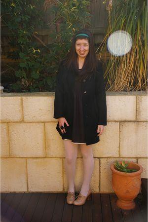 black Princess Highway dress - black Zara coat - white Forever New tights - beig