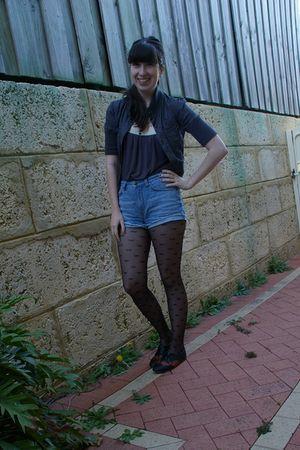 gray Dotti top - blue Sportsgirl shorts - gray cotton on jacket - black Sportsgi