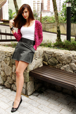 pink c&amp;a jacket - black shoes - white white tank top Hering shirt - black skirt