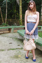 blue skirt - beige top - blue shoes - brown belt - beige bag - beige accessories