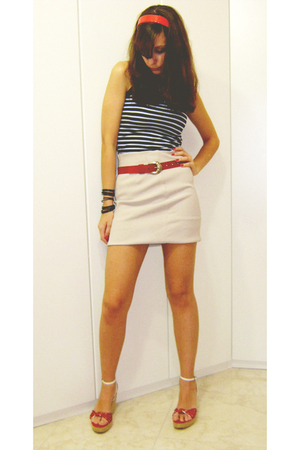 top - skirt - belt - shoes - accessories