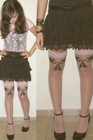 black lace skirt Hot Topic skirt - black Melissa shoes - pink shirt