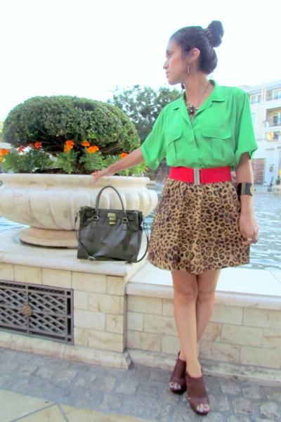 brown Jones New York skirt - forest green Bueno bag - red Forever 21 belt