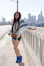 Blue-ebay-boots-off-white-striped-poncho-columbia-sweater-navy-cut-off-short