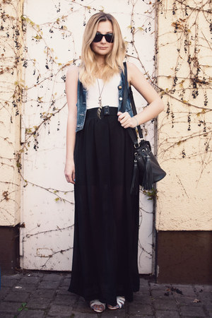 black maxi-skirt H&amp;M skirt - black H&amp;M The New Icons bag - black H&amp;M sunglasses