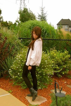 black Spring boots - black aa leggings - black H&M shirt - beige H&M sweater