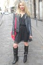 Black-sacha-boots-black-mango-dress-gray-kookai-jacket