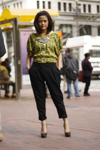 yellow Generation - X blouse - rachel roy heels - black Zara pants