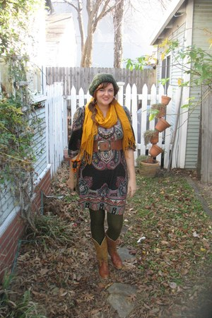 belt - scarf - We Love Colors stockings - dress - boots