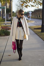 White-elle-coat-light-brown-old-navy-sweater-hot-pink-kate-spade-bag