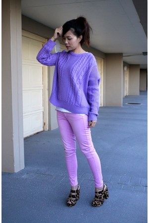 light pink American Eagle jeans - light purple RubyRed sweater