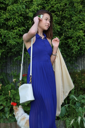 Cellini bag - Sportsgirl dress - bardot blouse