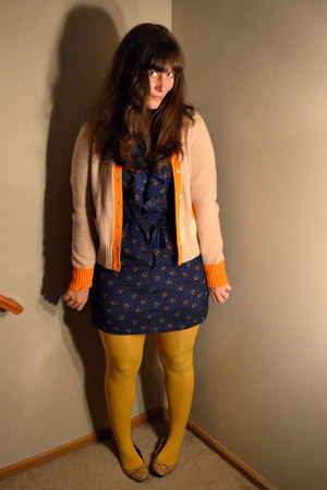 navy f21 dress - mustard Target tights - camel thrifted JCrew cardigan
