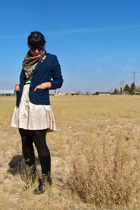 beige Random Thrifted dress - black vintage blazer - black Frye boots - blue vin
