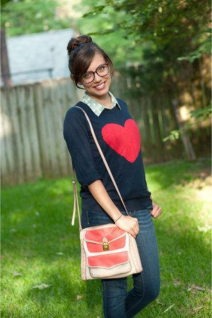navy Forever 21 sweater - salmon Jessica Simpson bag