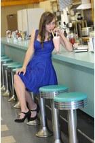 blue dress - black gianni bini heels