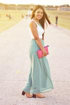aquamarine maxi Forever 21 skirt - camel ankle boots - bubble gum Forever 21 bag