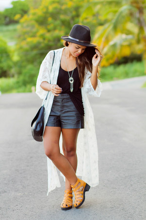 black faux leather Forever 21 shorts - nude gladiator The Black Poppy shoes