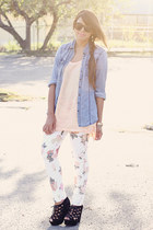 white floral print PacSun pants - light blue denim Charlotte Russe shirt