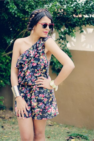 red clubmaster Ray Ban sunglasses - black romper