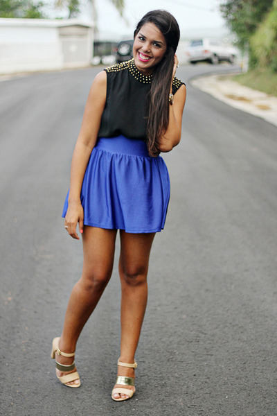 blue Forever 21 skirt - black Forever 21 top