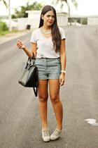 black Zara bag - turquoise blue Forever 21 shorts - silver top