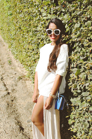 white Zara sweater - blue satchel Steve Madden bag - off white maxi Zara skirt