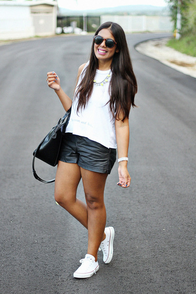 white brandy melville top - black faux leather Forever 21 shorts