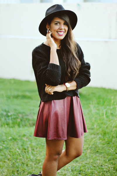 black cut-out ankle Black Poppy boots - black Forever 21 hat