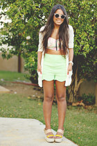 aquamarine Forever 21 shorts - light pink Forever 21 top