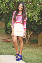 hot pink striped Forever 21 blouse - white peplum Zara skirt