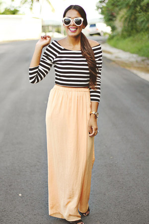 black striped Forever 21 top - peach wide Zara pants