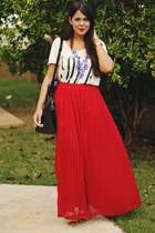 ruby red pleated maxi Forever 21 skirt - black Zara bag - ivory Forever 21 top